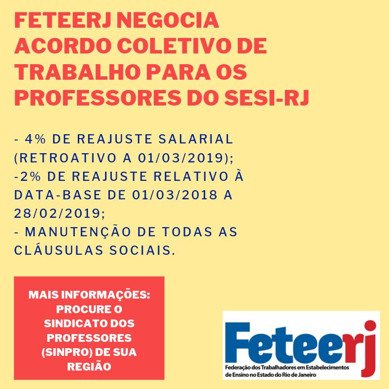 FETEERJ NEGOCIA ACORDO COLETIVO DE TRABALHO PARA OS PROFESSORES DO SESI-RJ