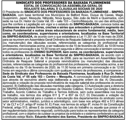 SINPRO BAIXADA CONVOCA ASSEMBLEIAS DE PROFESSORES DIA 15/02